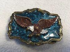 "Flying Eagle Belt Buckle Made in USA Shiny Blue Trucker Buckle 3""x 2.25"""