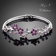 Purple Plum Blossom Platinum Plated Made with Swarovski Crystal Bangle Bracelet