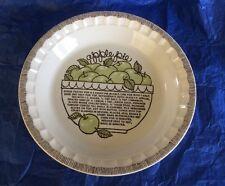 "Royal China Jeannette Vintage Apple Pie Plate 2"" x 10 1/2"" Deep Dish Recipe"