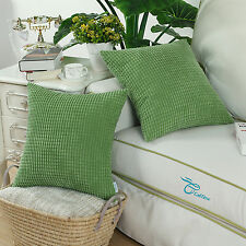 "2PCS Cushion Covers Pillows Shell Forest Green Corduroy Corn Striped 22"" X 22"""