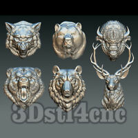 6 3D STL Models Animal Head for CNC Router Carving Machine Relief Artcam aspire