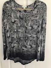 Witchery Womens Long Sleeve Black & Grey Stretch Casual Work Top Size Medium