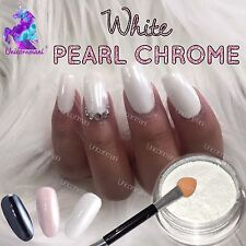 Polvere Bianca Cromo Opaco Pigmento Pearl UNGHIE NAIL ART cristallo lucido polvere M4