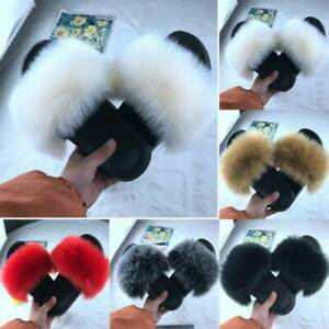 LADIES WOMENS FAUX FLUFFY FUR SLIDERS FASHION CASUAL SANDALS SLIPPERS SHOES SIZE