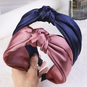 Women Fashion Satin Headband Cross Knot Hairband Hairhoop Hair Accessories