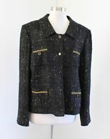 Tahari ASL Levine Luxe Black Gold Shimmer Tweed Blazer Jacket Size 18 Chain Trim