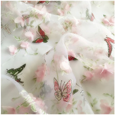 2 Yds Butterfly Print Applique Organza Fashion Chiffon Dress Material Pink Lace