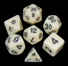 NEW 7 Piece Polyhedral Dice Set - Ivory Heavens  Opaque Ivory - Cream Dice Bag