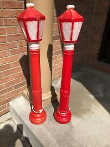 "Empire , Pair of Christmas 40"" Lantern Lamp Post Candle Blow Molds 1305, 1969"