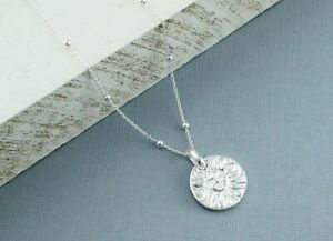 925 Sterling Silver Sun & Moon Double Sided Pendant Necklace