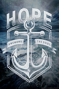 Hope Anchors The Soul Religious Art Poster 12x18 inch