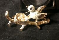 Vintage Signed Gerry's Gold Tone & Enamel Bird on Nest & Eggs Fashion Brooch Pin