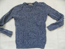 H&M schöner blau weiß melierter Pullover Zopfmuster Gr. 158/164 TOP SP219
