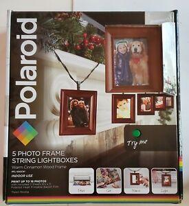 NEW Polaroid Photo Frame String LED Lightboxes Warm Cinnamon Wood Free Shipping!