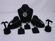 8Pc SET BLACK VELVET NECKLACE EARRING RING PENDANT JEWELRY DISPLAY STAND CM4B1