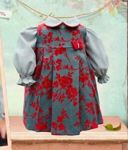 PRETTY ORIGINALSPINAFORE & BLOUSE STYLE BD1416 AGE 12M TO 3YEARS