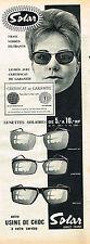 PUBLICITE ADVERTISING    1961  SOLAR   lunettes