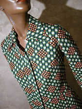 CHIC VINTAGE ROBE 1970 VTG DRESS 70s MOD VASARELY GRAPHIC KLEID 70er  (36/38)