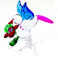 Tiny birds #9 hand blown clear glass miniature figurine crystal dollhouse animal