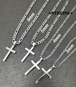 Mens Womens Stainless Steel Figaro Chain Necklace with Cross Pendant Jewelry