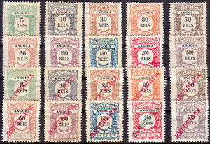 ANGOLA 1904-11 Yvert 1-20 Timbre Taxe Postage Due two sets MH CV 94€
