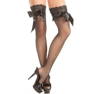Stay Up Fishnet Thigh Highs Lace Top Back Seam Bows Stockings Hosiery BW415