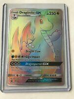 Dragonite Gx- RAINBOW SECRET HYPER FULL ART RARE Pokemon Dragon Majesty NM SM156