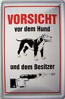 avertissement avant chien et Besitzer Plaque de tôle panneau en étain 20 x 30 cm