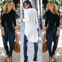 Women Ladies Casual Long Sleeve Forking Irregular Long Top Blouse Pullover Shirt
