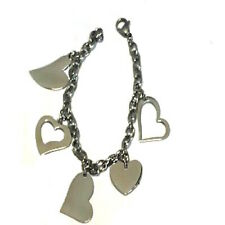 New Stainless Steel 8 inch Chain Bracelet with 5 difference Hearts  Charms