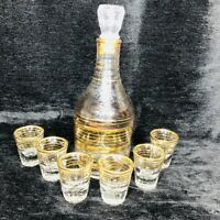 Set 7 Vtg Gold Trim Whiskey Liquor Decanter 6 Shot Glasses Bar Set Mid Modern