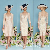 Lace Beaded Formal Mother Of The Bride Dress Outfits With Jacket Knee Length