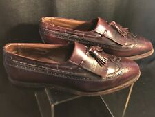 Allen Edmonds Arlington Burgundy Wing-tipped Kiltie Tasseled Loafers Men's 9C