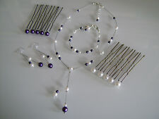 Parure Blanc/Ivoire/Violet Collier Pics robe Mariage/Mariée/Cérémonie pas cher