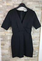 Reiss Ladies Size 10 V Neck Tailored Black Cross Over Panel Dress