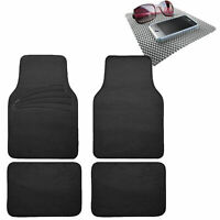 4pcs Carpet Floor Mats Universal Fit for Car SUV Van Black w/ Gray Dash Mat