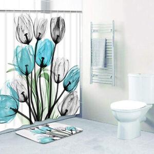Decor Tulip Bathroom Rug Set Waterproof Polyester Fabric Bathroom Shower CurWP2
