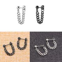 1 Pair Unisex Fashion Punk Stainless Steel Chain Pendant Ear Stud Drop Earrings