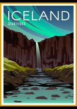 ICELAND SVARTIFOSS RETRO TRAVEL AD ART PRINT POSTER