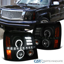 For Cadillac 02-06 Escalade Black Smoke LED DRL Strip Halo Projector Headlights