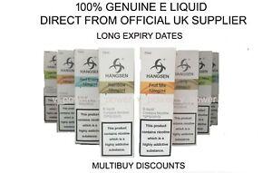 HANGSEN E Liquid 20 x 10ml Juice VAPE 6-12-18MG MIX N MATCH GENUINE LONG DATE
