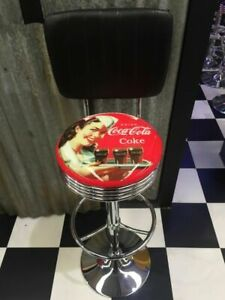 BAR RETRO DINER STOOL - COKE LADY - WITH BACK - VINTAGE - BRAND NEW