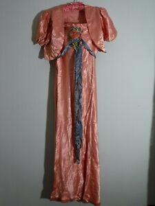 True Vintage Satin Ribbon Dress Gown Velvet Flowers  S XS   with marks