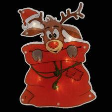 LED Fenster-Silhouette Rentier mit Mantel Rot Fensterbild Weihnachten beleuchtet
