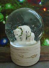 Sleigh Hill Christmas Polar Bears on Faux Wood Base Musical Snowglobe