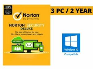 Registered Norton Security Deluxe 3 PC 2 Year License Code Key Win 10 ready