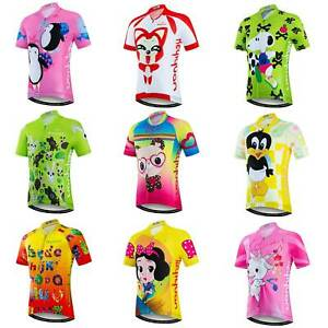 Youth Cycling Jersey Shirt Short Sleeve Boys Girls Cycle Jersey Tops Reflective