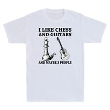 I Like Chess And Guitar And Maybe 3 People Retro Men's Short Sleeve T Shirt Top