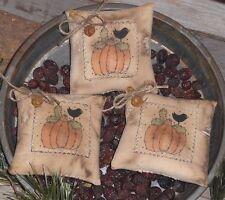 3 Rustic Primitive Halloween  Pumpkin & Crow Bowl Fillers Ornaments Ornies Tucks