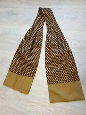 Vintage Rare HERMES Ascot Brown Beige silk seta tie cravate scarf